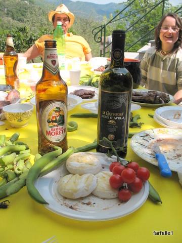 elenas-baked-cheese-fava-tomatoes-wine