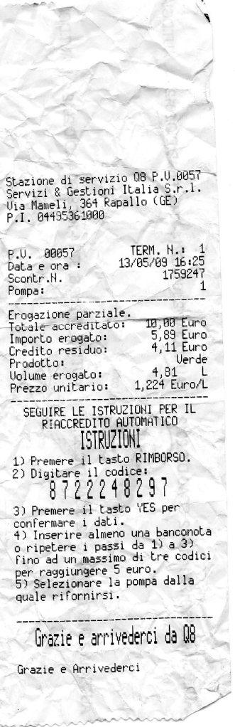 Q-8 receipt