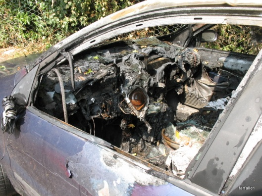 burned car front seat