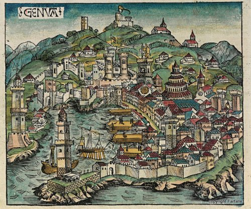 Depiction of Genoa from the Nuremberg Chronicles, 1498