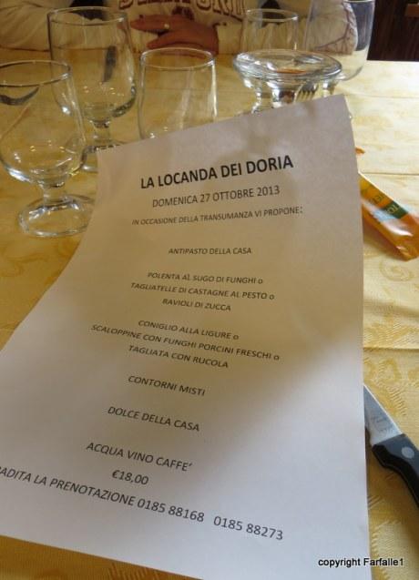 Locanda dei Doria menu