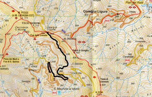 Topo map of sentieros sentierii sentieri with my path cropped
