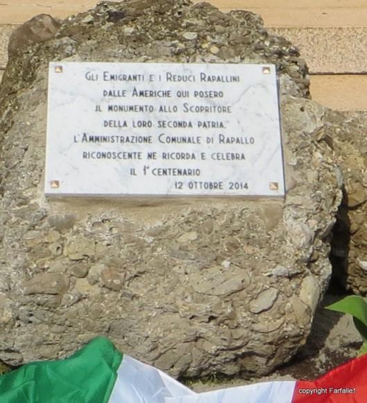 new plaque on columbus statue