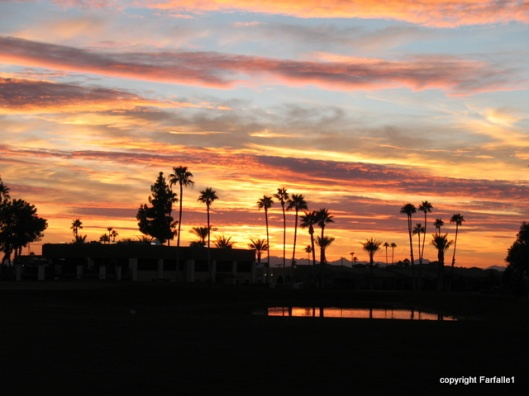 sunset over painted mountain golf course